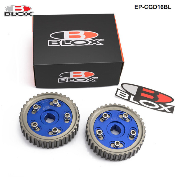 best selling Blox Racing 2pcs Adjustable Cam Gear Pulley Cam Pulley Set For HONDA CIVIC Integra D16A SOHC 96-00 Inlet and Exhaust EP-CGD16BL