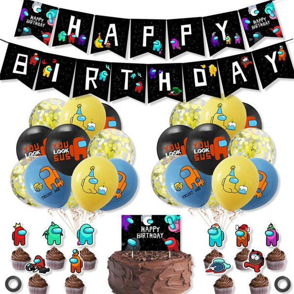 top popular Party balloons Among Us Banners Space Werewolf Killing Game Theme Balloon Flag Pulling Set Birthday Banner Cake Card Decoration 2021