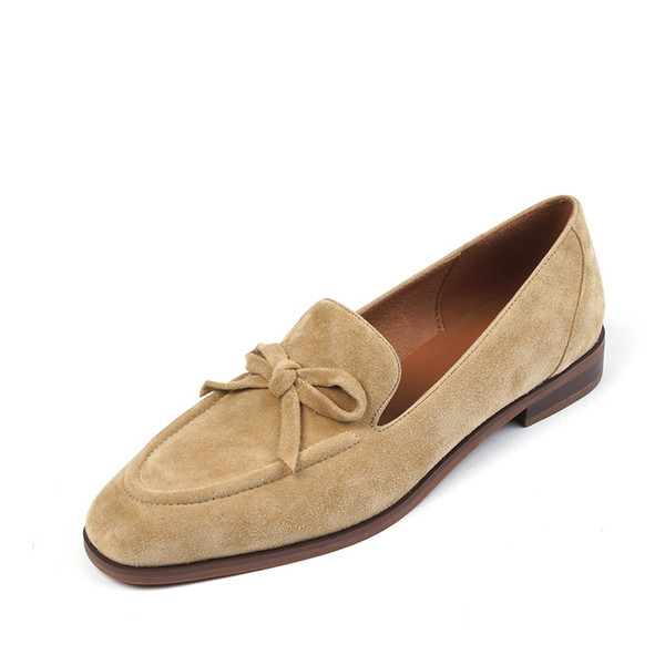 Suede Loafers Women Slip-On Butterfly Knot Flats Shoes Genuine Leather Ballets Flats Shoes for Women Moccasins Leather Shoes