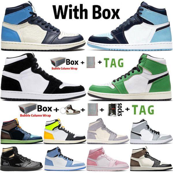 top popular 2021 With Box Jumpman 1 Obsidian UNC Lucky Green 1s Mens Basketball Shoes Dark Mocha University Blue Twist Women Sneaker Trainers Size 36-47 2021