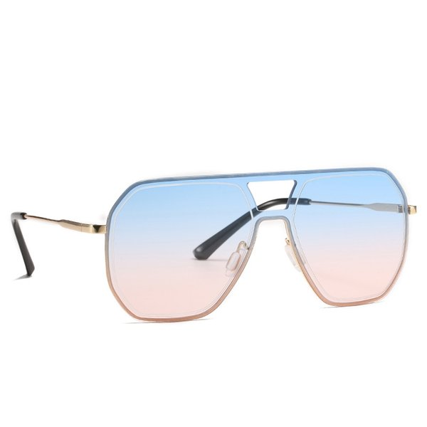 top popular 2021 Fashion Oversized One Piece Square Sunglasses Retro Ocean Color Gradient Rimless Sun Glasses for Women Shade Lens Uv400 2021
