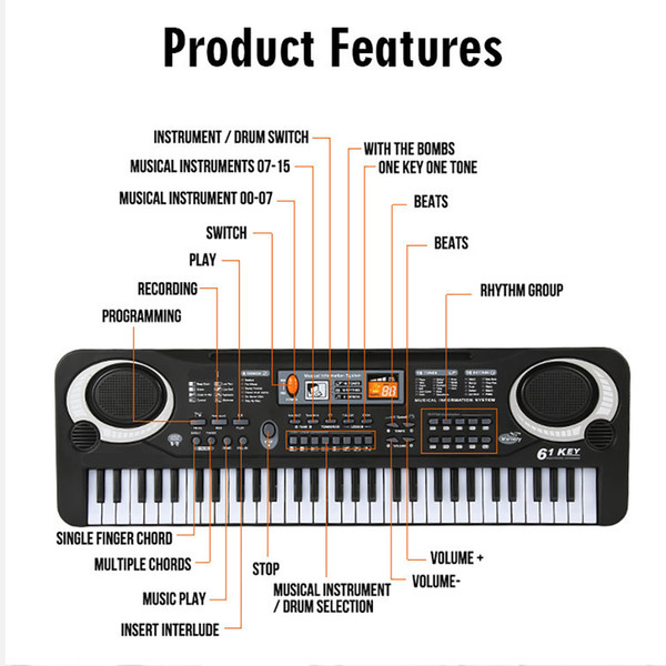 best selling 61Keys Electric Piano Children Gift Electric Key Board Piano Portable Digital Music Electronic Keyboard Music Learning Toy