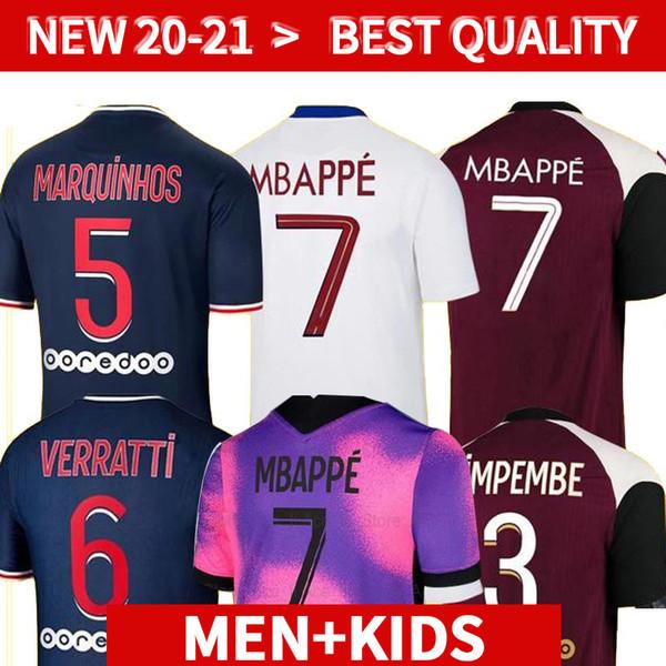 best selling MBAPPE VERRATTI KEAN Soccer Jersey 2020 2021 DI MARIA KIMPEMBE MARQUINHOS ICARDI Pre-Match Football Shirt 20 21 Men + Kids Kit