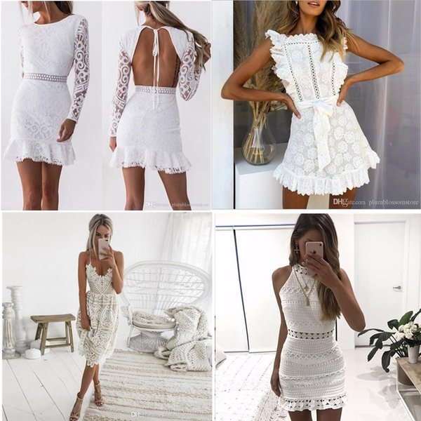 best selling Women Hollow Out White Lace Dress 2021 Spring O-Neck Long Sleeve Backless Sexy Bodycon Sheath Evening Dresses Lady Party Dress Summer Autumn
