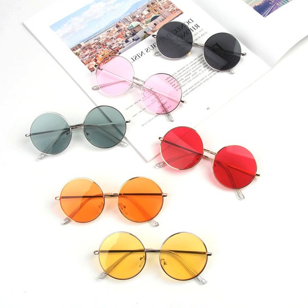 top popular Round Kids Sunglasses Girls Boys Baby Sun Glasses Children Gift Vintage Oculos Eyewear Uv400 Solid Color Lenses 2021