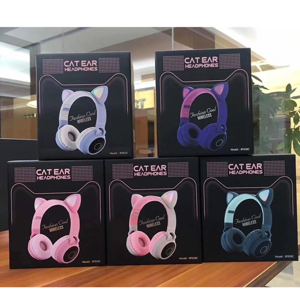 best selling LED Cat Ear Noise Cancelling Headphones Bluetooth 5.0 Young People Kids Headset Support TF Card 3.5mm Plug With Mic Retail Box