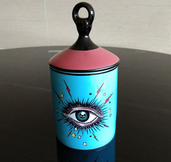 top popular Lovely Design Big Eyes Jar Hands with Lids Ceramic Decorative Cans Candle Holder Storage Cans Home Decorative Box for Makeup 2021