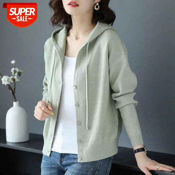best selling Hooded winter women knitted cardigan sweater plus velvet coat 2020 new casual loose clothes Casual long sleeve tops #q40E