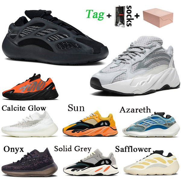 top popular With Box 2021 Top Quality Alvah Static 700 Women Mens Running Shoes Calcite Glow Reflective Onyx Solid Grey Sun Yecoraite Trainers Sneakers 2021