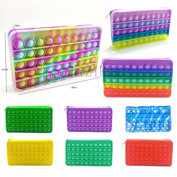 top popular Silicone Rainbow Push It Bubble Pencil Bag Case Fidget Party Simple Dimple Finger Toys Decompression Relief Interactive 2021 Back to school 2021