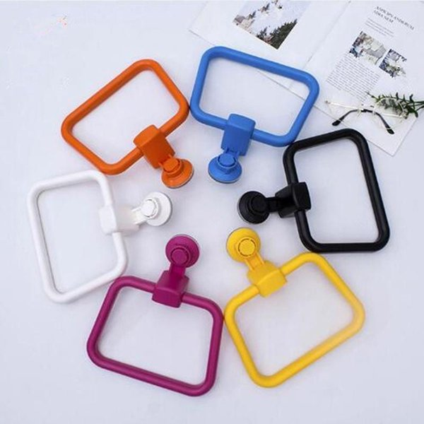 best selling 1pc Wall Mounted Suction Towel Ring Rack Holder ABS Towel Holder Modern Bathroom Hanging Hardware Accessory HYZ9261
