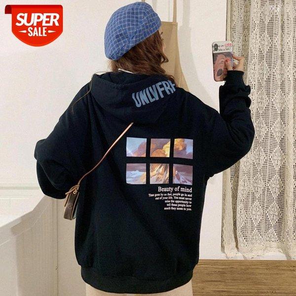 best selling Oversized Funny Womens Sweatshirts Streetwear Chic Leisure Hoodies Women Hooded Soft Loose Simple Cartoon Printed Fashion #d16u