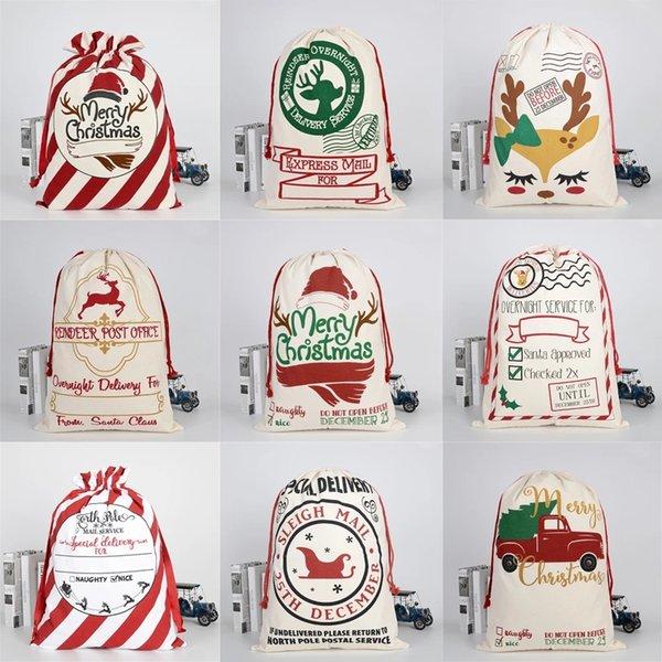 top popular 2021 New Year Gift Santa Sacks Large Santa Claus Bag Christmas Canvas Gift Bags Drawstring Cotton Santa Party Supplies 2021