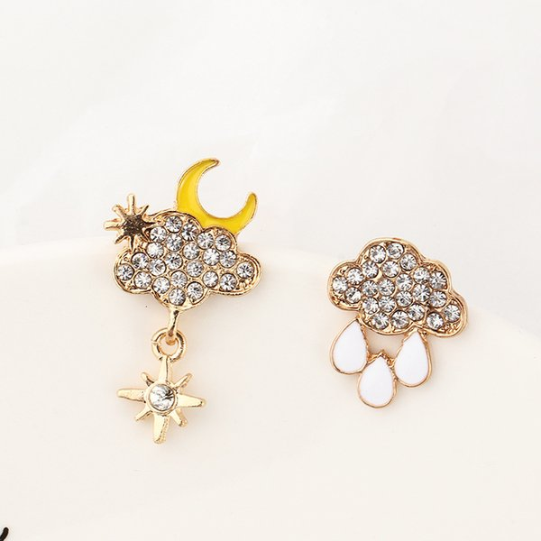 Ez3201 fashion accessories lovely weather inlaid with diamond oil raindrops cloud Earrings Follow the feeling and choose what you like at first sight.