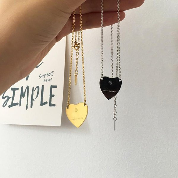 top popular Luxury necklace female stainless steel couple heart gold chain pendant jewelry on the neck gift for girlfriend accessories wholesale 2021
