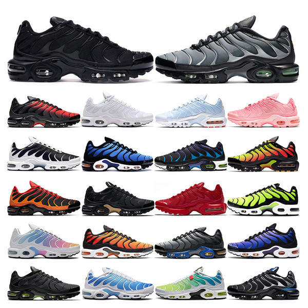 top popular 2021 tn plus running shoes mens black White Volt Glow Hyper Pastel blue Oreo women Breathable sneaker trainer outdoor sport fashion size 36-46 2021