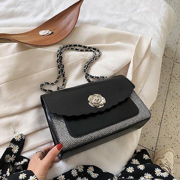 Factory wholesale women bags elegant temperament stitching leather chain bag flower buckles womens handbag fashionable plaid shoulder handbags