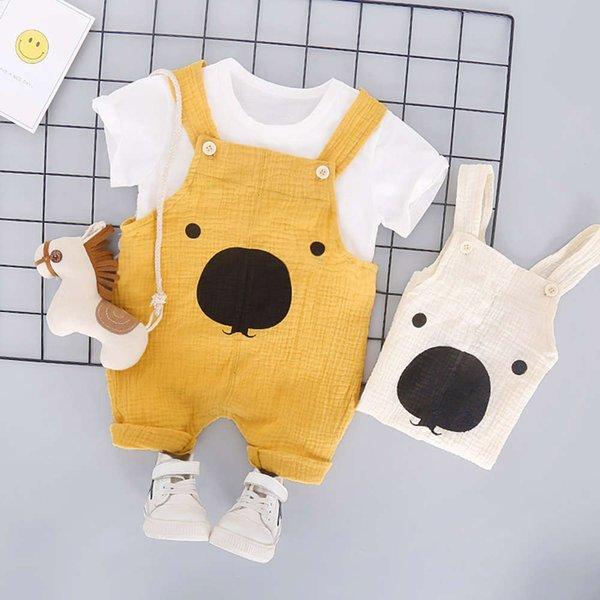 Algodão e cânhamo urso de manga curta cinta amarela