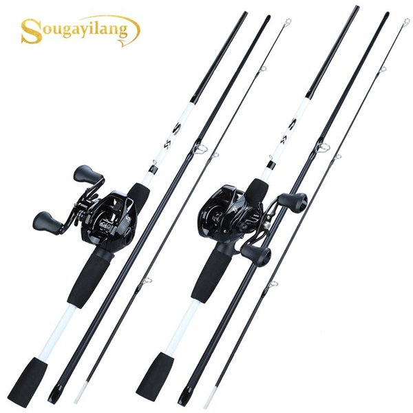 top popular Sougayilang 1.75m Fishing Rod Reel Combo Portable 3 Section Carbon Fishing Rod with 12+1BB Baitcasting Reel Tackle Set 2021