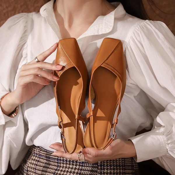 2021 Summer New Women Sandals Genuine Leather Slingbacks Sandals Women Sqaure Toe Thick Heels Women Sandals Cozy Shoes