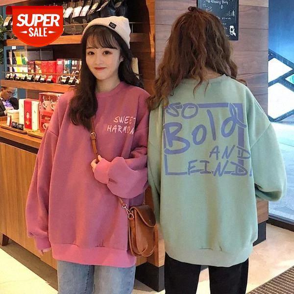 top popular Plus velvet o-neck sweatshirt women long sleeve Korean style loose thick coat streetwear harajuku hoodie Winter Pullovers #x699 2021