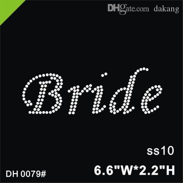 top popular Free shipping new arrival Bride hotfix rhinestones motif heat transfer iron on patch garment accessory DIY DH0079# 2021