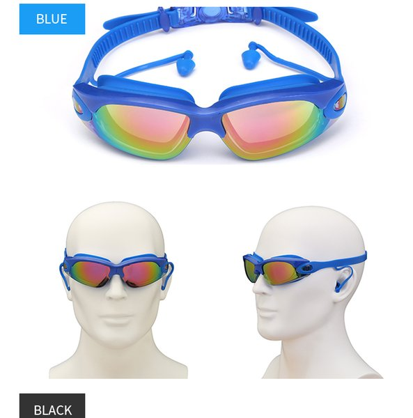 best selling Swimming Goggles Swimming ear plugs professional Waterproof glasses HD Anti-Fog UV Silicone Glasses Electroplate Clear goggles