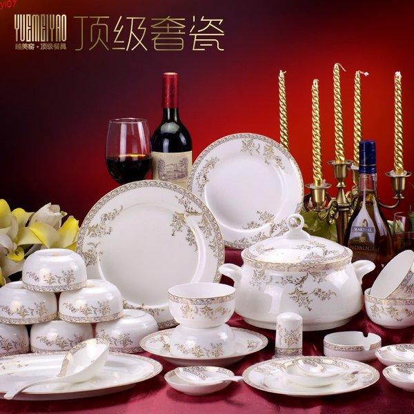 best selling Luxury 56 head bone china tableware suit in Jingdezhen Swan Lake pottery bowl dish ceramic wholesalehigh quatity