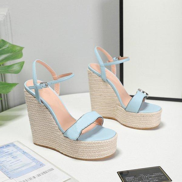 top popular The latest women's slope heel sandals leather material hemp rope woven sole waterproof platform design luxury custom logo35-42 2021