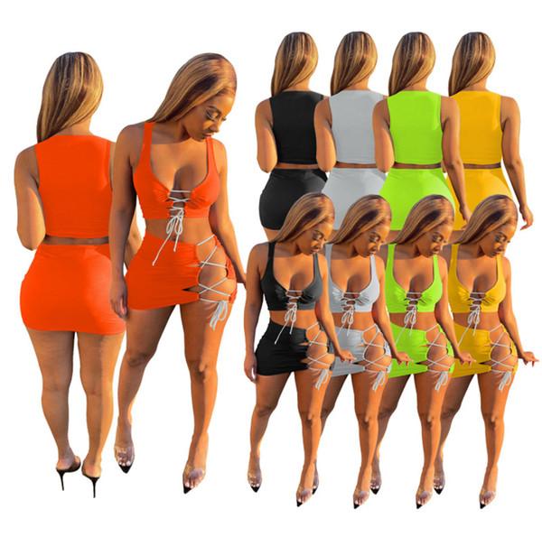 top popular Summer Women sexy bikinis dress beach wear clothing bathing suit 2XL swimwear 2 piece dress bandage solid color Swimsuit clothes 4512 2021
