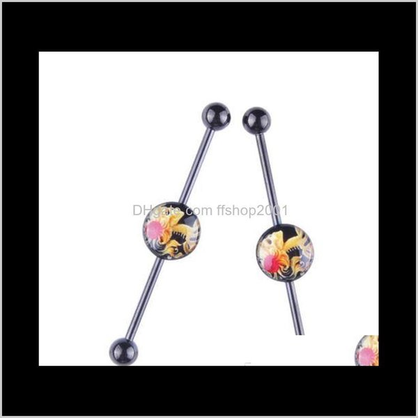 top popular 2017 New Stainless Steel Long Industrial Barbell Bar Ear Expansions Piercing Earring Stretcher Body Jewelry O1Uto Smmof 2021