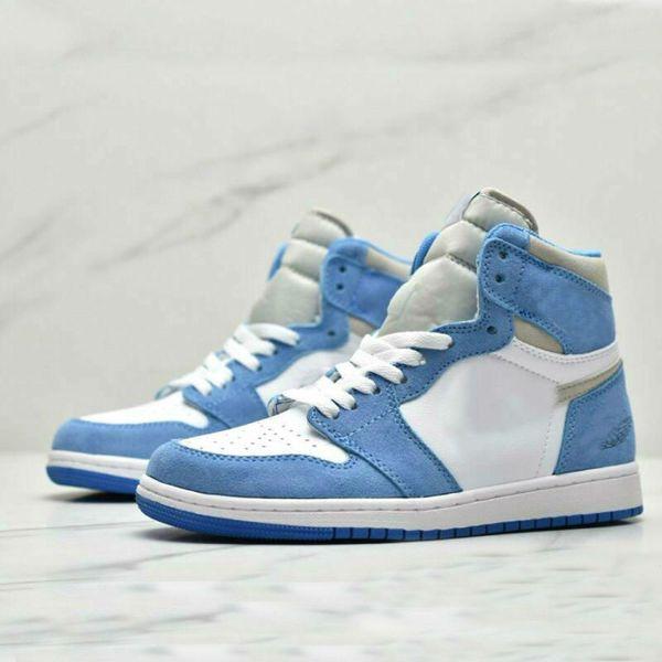 top popular 1 High OG University Blue shoe 2.0 Silver toe Mid-night Navy white black women men basketball shoes mens sports sneakers 2021