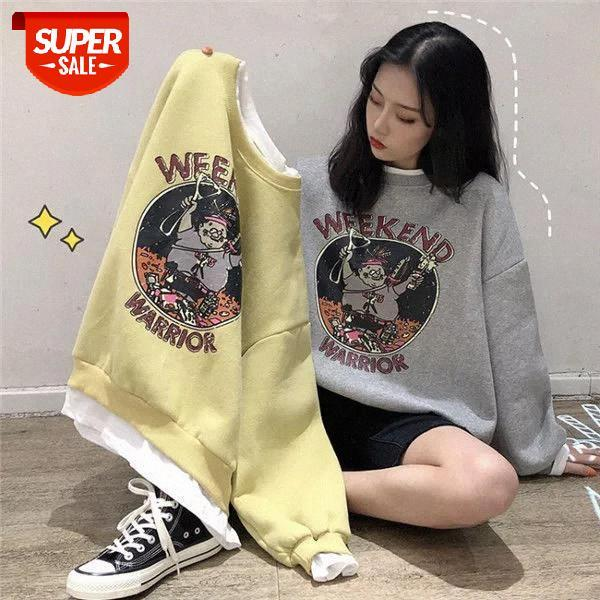 top popular Plus velvet sweatshirt women 2020 autumn winter new fake two-piece printing loose Korean style jacket women hoodies #mq8p 2021