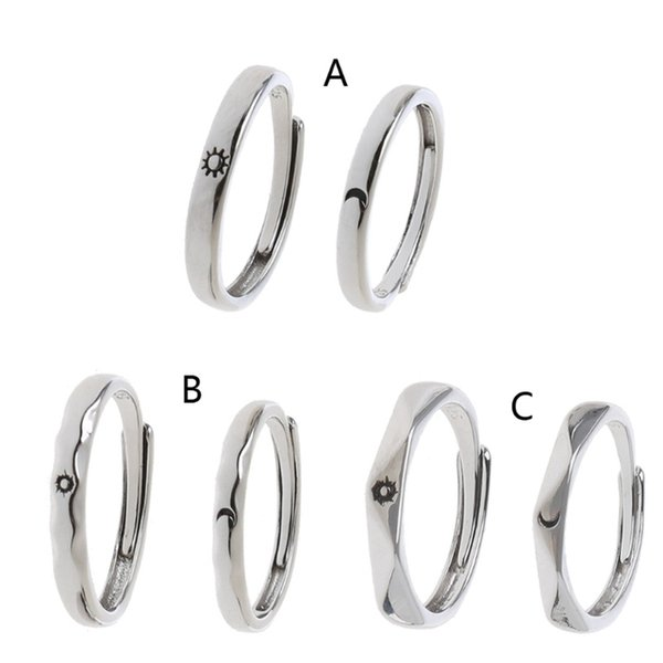 Fashion Jewelry Rings 2Pcs Sun and Moon Lover Couple Rings Set Promise Wedding Bands for Him and Her