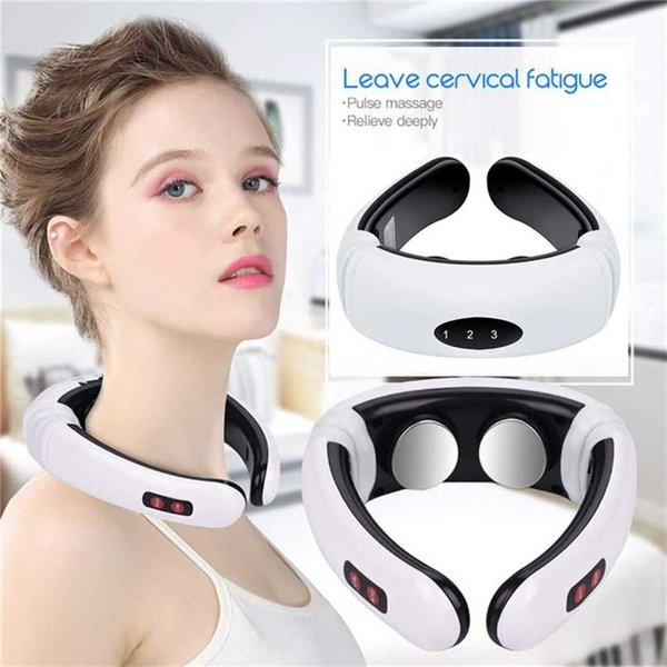 top popular 6 Modes Smart Electric Neck and Shoulder Massager Pain Relief Tool Health Care Relaxation Cervical Vertebra Physiotherapy 211012 2021