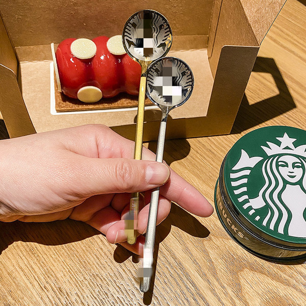 best selling 2021 Popular Starbucks Stainless Steel Coffee Milk Spoon Small Round Dessert Mixing Fruit Spoon Factory Supply