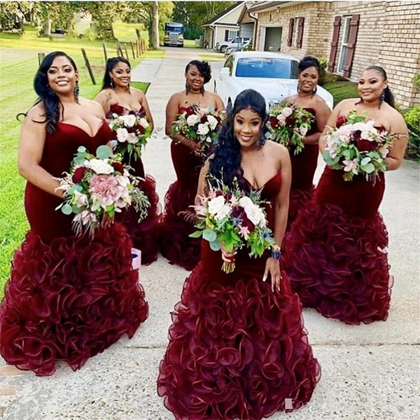 best selling Velvet Burgundy Bridesmaid Dresses Sweetheart Ruched Ruffles Mermaid Plus Size Maid of Honor Dress Country Wedding Party Gowns Lace Up