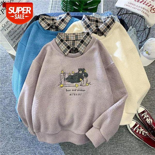 best selling winter new sweatshirt thick coat female harajuku Lamb wool fake two pieces of 2020 autumn loose Korean style plus velvet hoodie #es5v