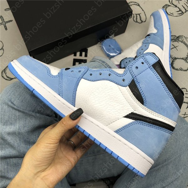 University Blue Powder Blue Sneakers 1 High Trophy Room Mens UNC Sail LPL 1 Comfort Skate shoes 1s Obsidian Silver Toe basketball shoes