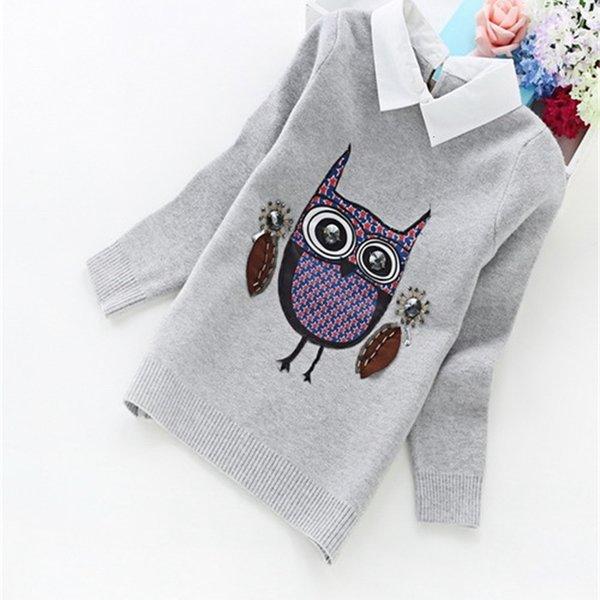 best selling Children Clothes New Winter Korean Girls Cashmere Cartoon Crew Neck Sweater Owl Shirt Collar Pullovers