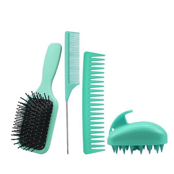 best selling hairdressing comb set home air cushion massage Scored tail comb wide teeth comb silicone shampoo brush hair gallery tool