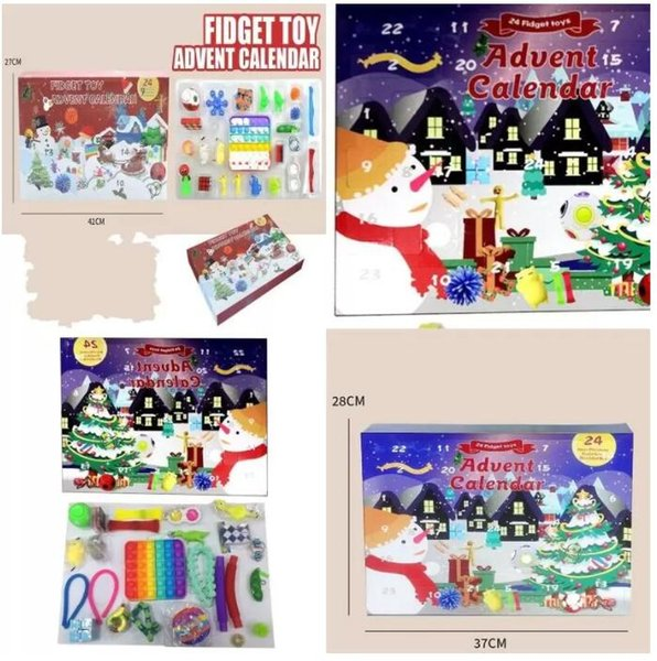 top popular Fast delivery Christmas Fidget Toys Boxes Gifts 24pcs Set Advent Calender Blind Dimple Decompression Toy Push Bubbles Kids Xmas Gift CS15 2021