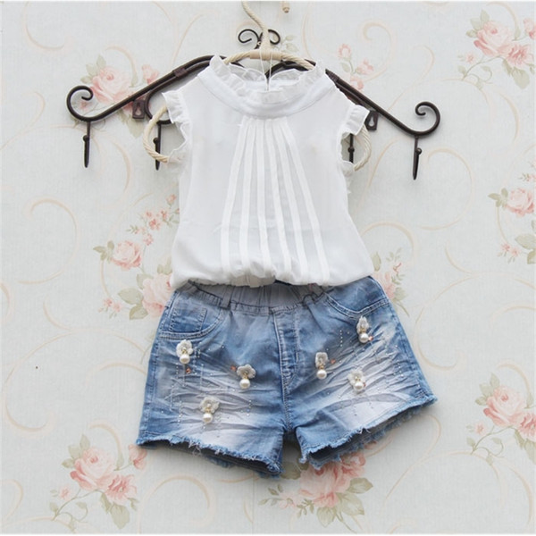best selling Girls White Shirt Sleeveless ChiffonTops for Teenage School Girl Solid Color Lace Blouses Cool Shirts for Toddler Child Clothes 210302