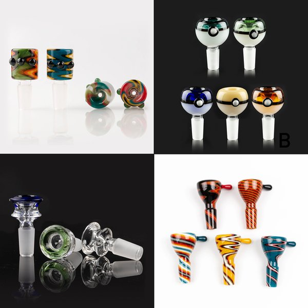 best selling Wholesale 14mm bowl and 18mm Male glass bowl With flower Snowflake Filter bowls For Glass Water Bongs bongs smoking bowls