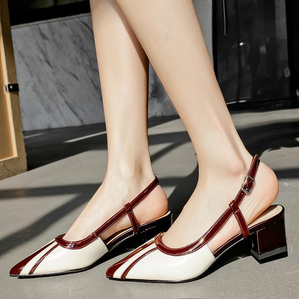 2021 New Summer Womens Shoes Pointed High Heels Womens Sandals Color Matching Sandals Big Size Womens Shoes High Heels Sandals