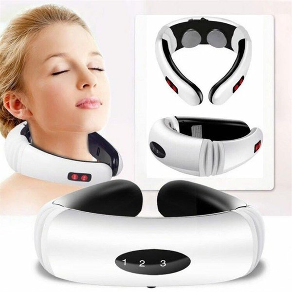 top popular Electric Pulse Back and Neck Massager Far Infrared Heating Pain Relief Health Care Relaxation Tool Intelligent Cervical Massager 211012 2021