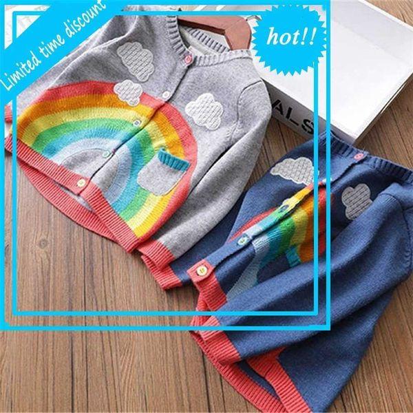 top popular Casual Herf Winter Girls Jassen Kids Baby Rainbow Cloud Truien Kint Vest Trui Outrunner Casaco S11509 2021