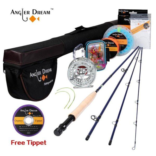 top popular Rod Reel Combo Angler Dream Fishing Set Kit 9FT 5WT And With Flies Line Tying Materials 2021