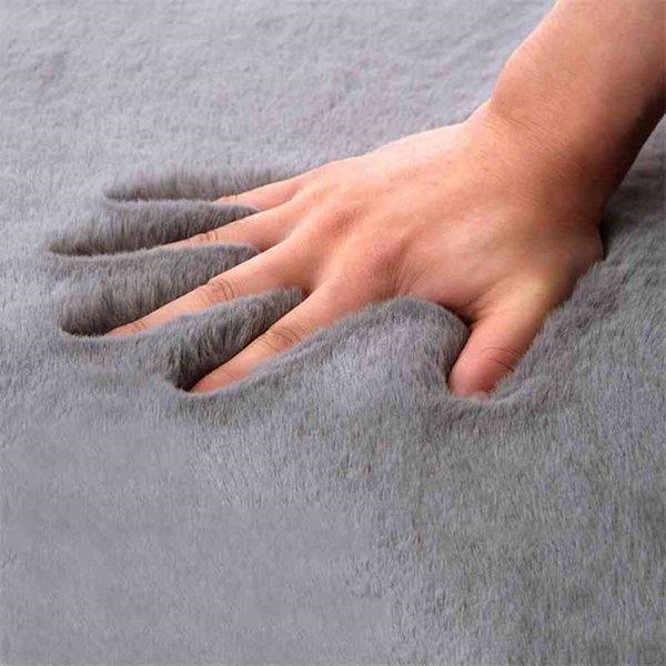 best selling SUPER SOFT Fluffy Rug Large Area Mat Faux Fur Rug Home Decor Modern Solid Rabbit Shaggy Fur Carpet for Living Room Bedroom T200111