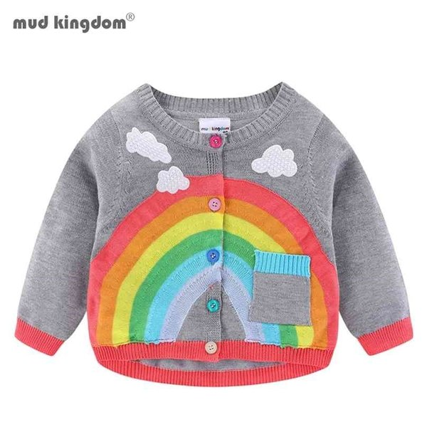 best selling Mudkingdom Toddler Girl Boy Cardigan Sweater Lightweight Rainbow Clouds Knit Outerwear for Kids Clothes Cotton Spring Autumn 210811